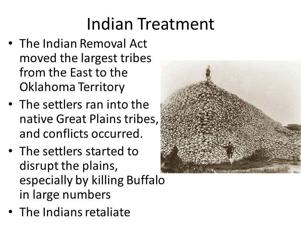 Indian Treatment The Indian Removal Act moved the largest tribes from the East to the Oklahoma Territory The settlers ran into the native Great Plains