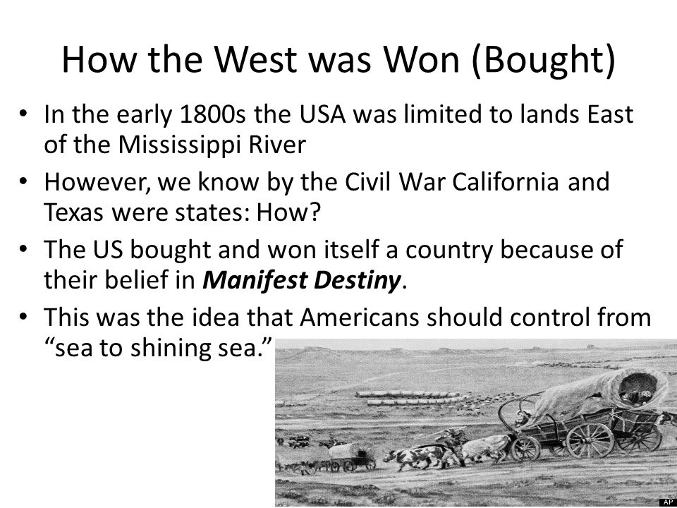 The Land Louisiana Purchase: Bought from France (1803) Florida Cession: Treaty with Spain (1819) Webster-Ashburton Treaty: Britain (1842) Texas Annexation: Took from Spain (1845) Oregon Country: Agreement with Britain (1846) Mexican Cession: Won from the Spanish American War (1848) Gadsden Purchase: Bought from Mexico (1853)