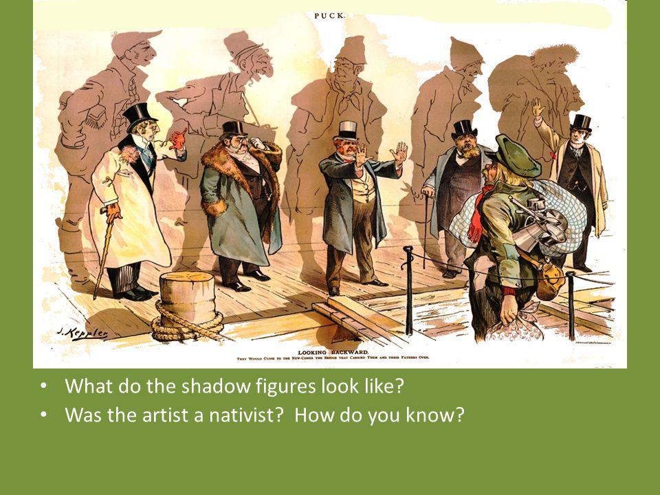 What do the shadow figures look like Was the artist a nativist How do you know