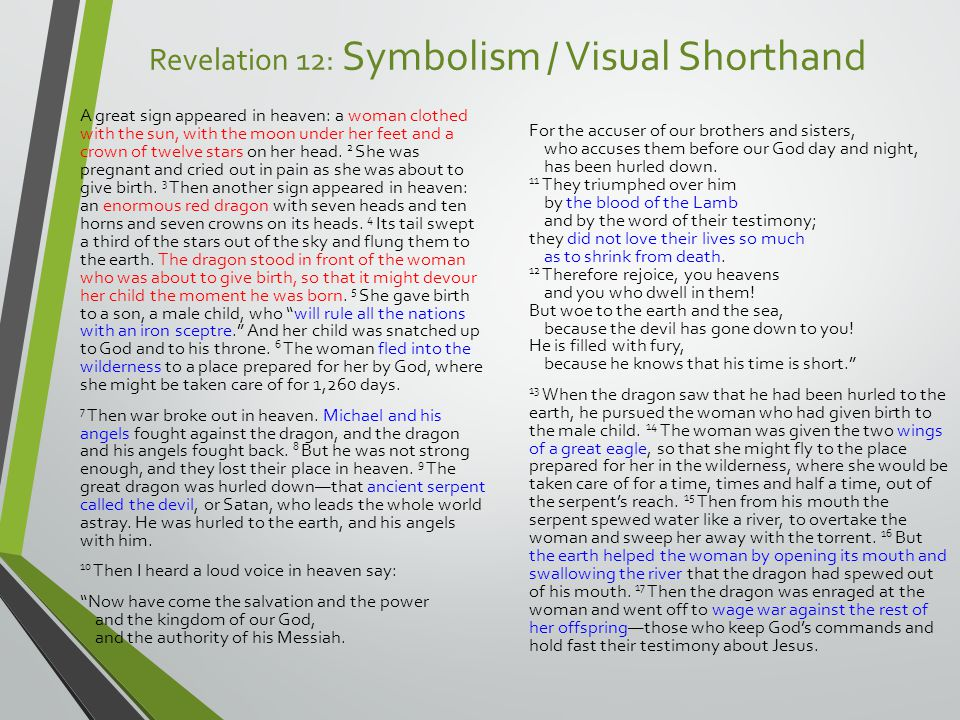 Revelation 12: Symbolism / Visual Shorthand A great sign appeared in heaven: a woman clothed with the sun, with the moon under her feet and a crown of twelve stars on her head.