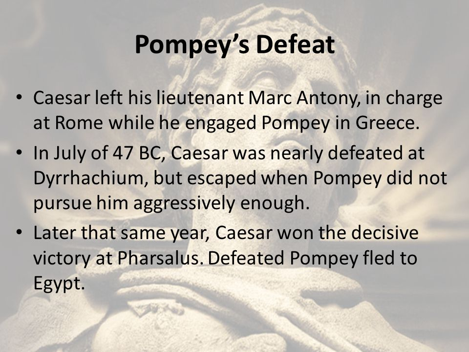 Caesar's Dictatorship Returned to Rome and was appointed dictator, while Marc Antony was made his magister equitum.