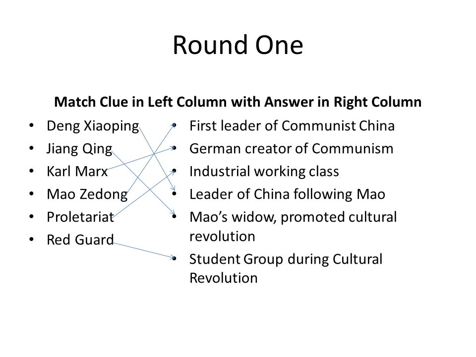 Round One Match Clue in Left Column with Answer in Right Column Deng Xiaoping Jiang Qing Karl Marx Mao Zedong Proletariat Red Guard First leader of Co