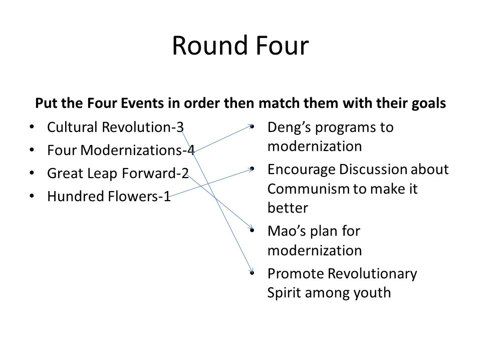 Round Four Put the Four Events in order then match them with their goals Cultural Revolution-3 Four Modernizations-4 Great Leap Forward-2 Hundred Flow