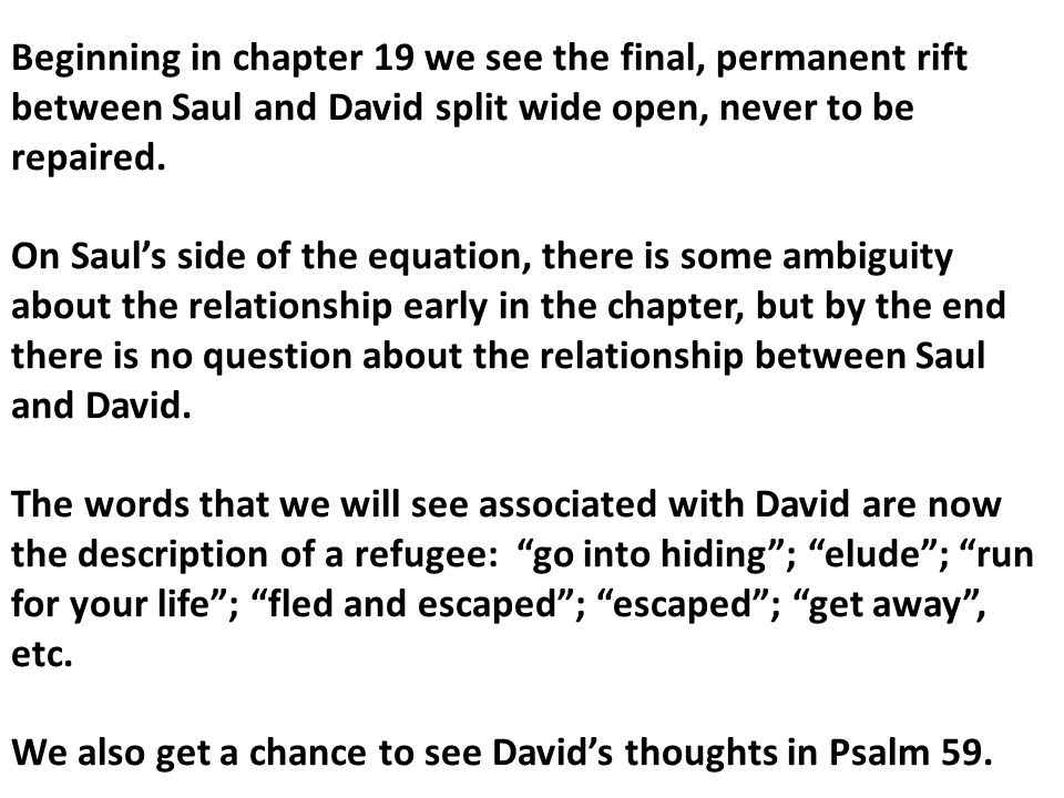 4.Jonathon's 5 point intercession (vv. 4-5) -Don't wrong David, he is innocent.