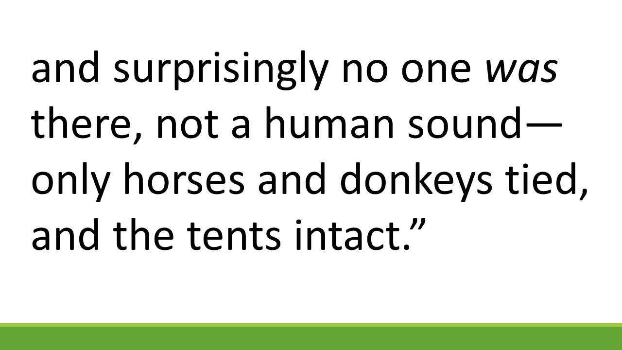 and surprisingly no one was there, not a human sound— only horses and donkeys tied, and the tents intact.