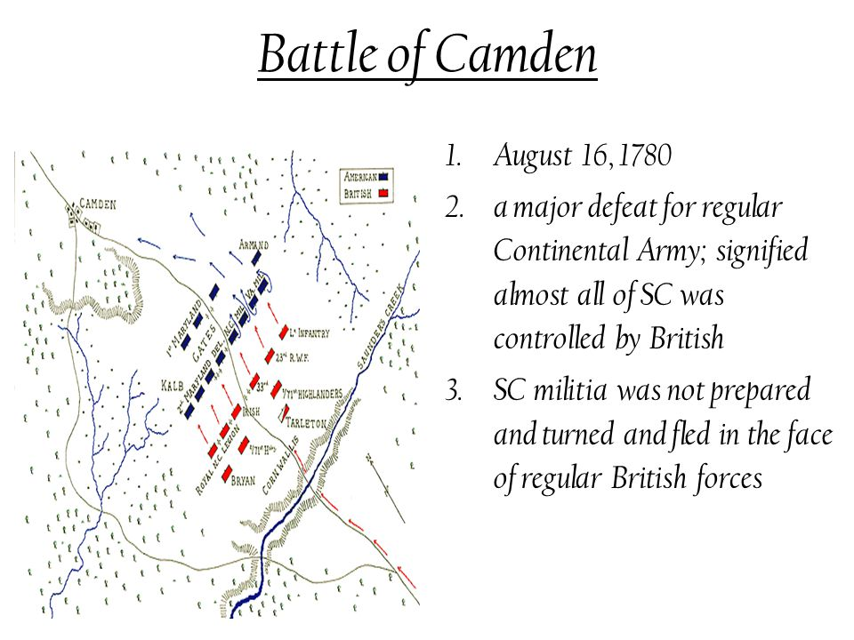 Battle of Camden 1.August 16, 1780 2.a major defeat for regular Continental Army; signified almost all of SC was controlled by British 3.SC militia was not prepared and turned and fled in the face of regular British forces