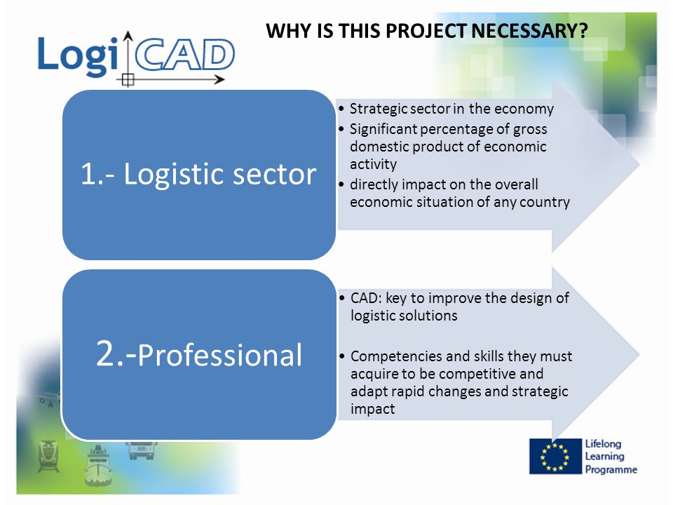WHY IS THIS PROJECT NECESSARY? Strategic sector in the economy Significant percentage of gross domestic product of economic activity directly impact o