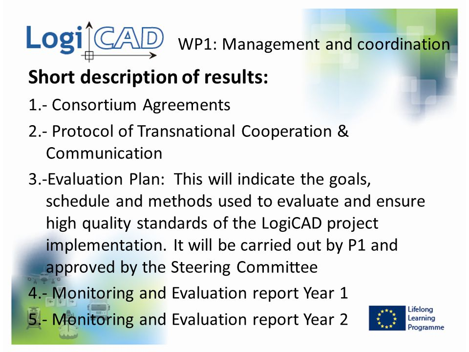 WP1: Management and coordination Short description of results: 1.- Consortium Agreements 2.- Protocol of Transnational Cooperation & Communication 3.-