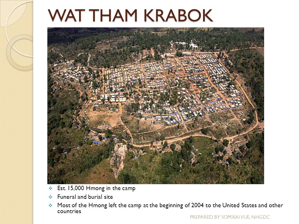 WAT THAM KRABOK PREPARED BY SOMXAI VUE, NHGDC  Est. 15,000 Hmong in the camp  Funeral and burial site  Most of the Hmong left the camp at the begin