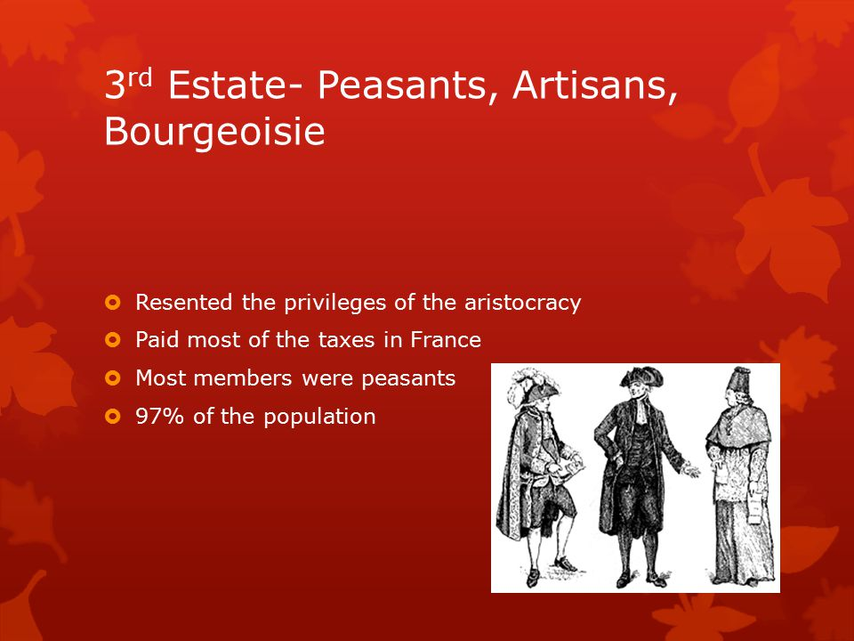3 rd Estate- Peasants, Artisans, Bourgeoisie  Resented the privileges of the aristocracy  Paid most of the taxes in France  Most members were peasa