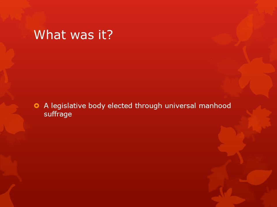 What was it?  A legislative body elected through universal manhood suffrage