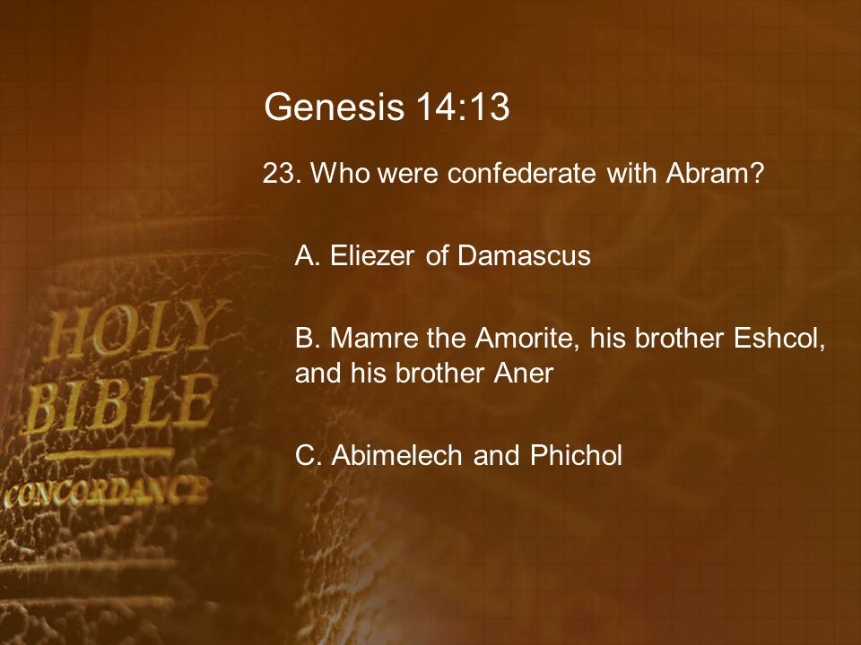 Genesis 14:13 23. Who were confederate with Abram? A. Eliezer of Damascus B. Mamre the Amorite, his brother Eshcol, and his brother Aner C. Abimelech