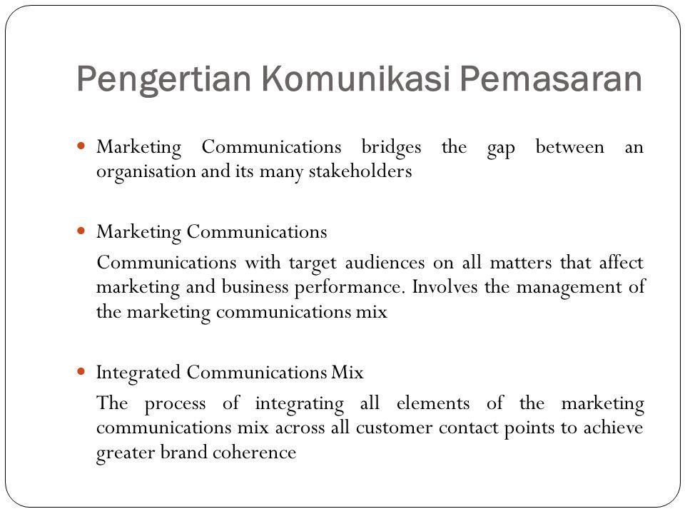Pengertian Komunikasi Pemasaran Marketing Communications bridges the gap between an organisation and its many stakeholders Marketing Communications Co
