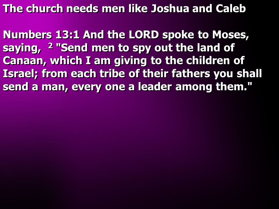 The church needs men like Joshua and Caleb Numbers 13:1 And the LORD spoke to Moses, saying, 2 Send men to spy out the land of Canaan, which I am giving to the children of Israel; from each tribe of their fathers you shall send a man, every one a leader among them. The church needs men like Joshua and Caleb Numbers 13:1 And the LORD spoke to Moses, saying, 2 Send men to spy out the land of Canaan, which I am giving to the children of Israel; from each tribe of their fathers you shall send a man, every one a leader among them.