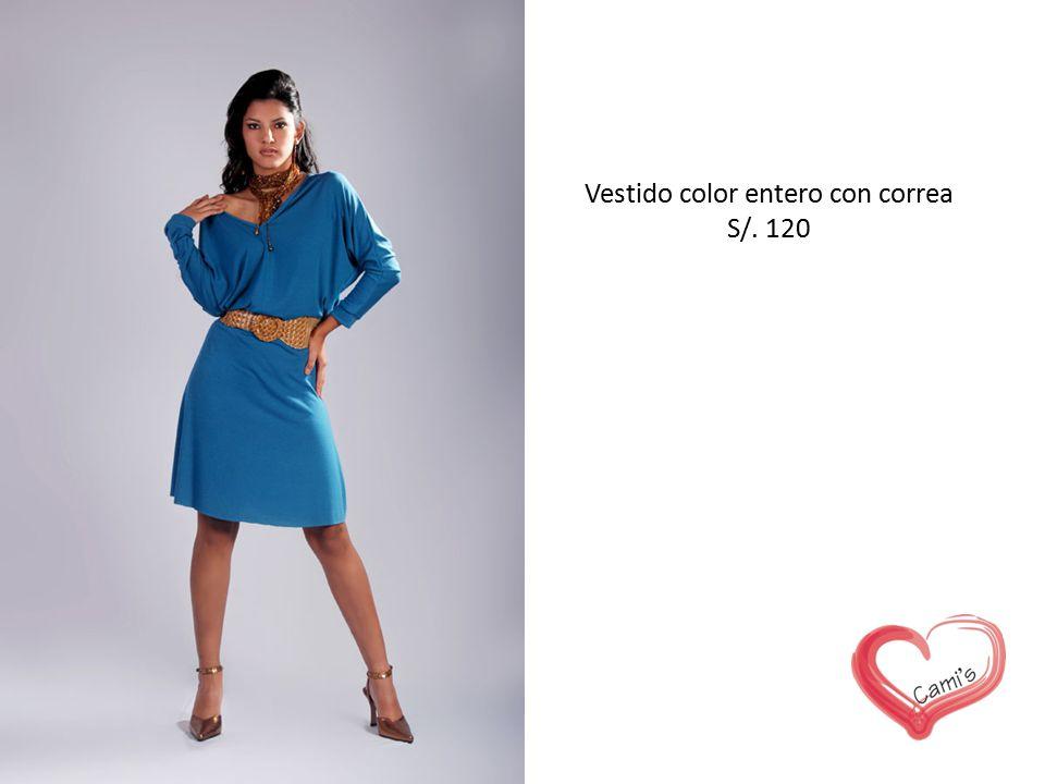 Vestido color entero con correa S/. 120