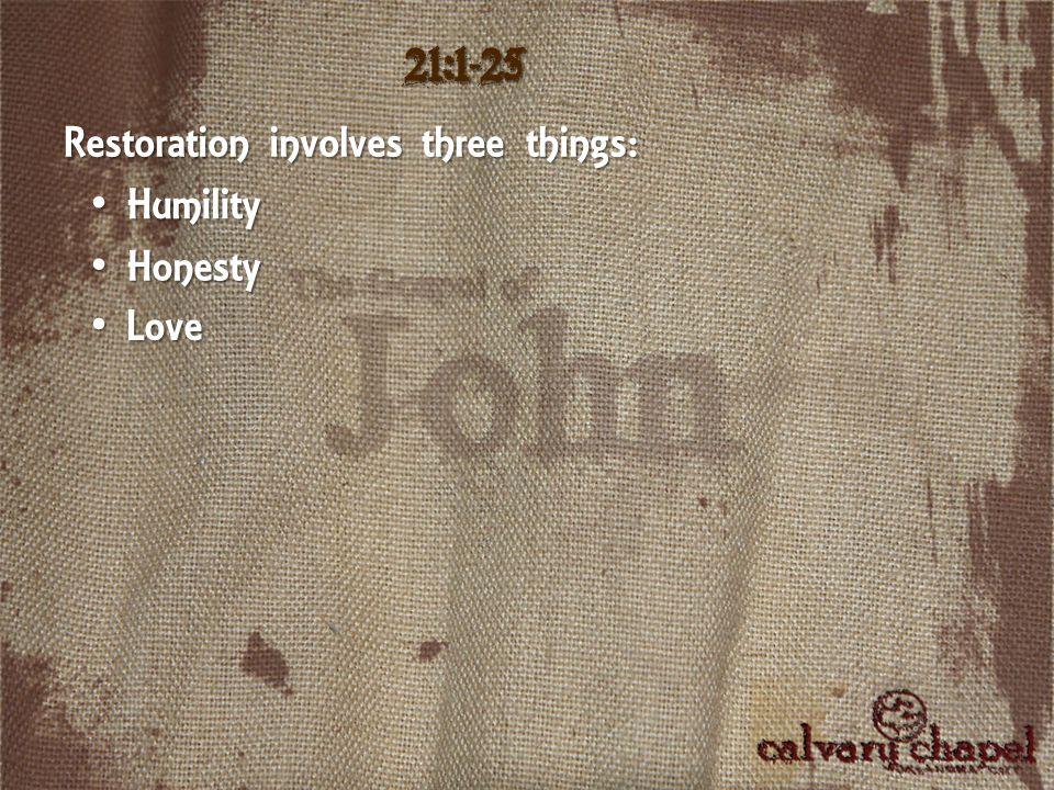 21:1-25 Restoration involves three things: Humility Humility Honesty Honesty Love Love