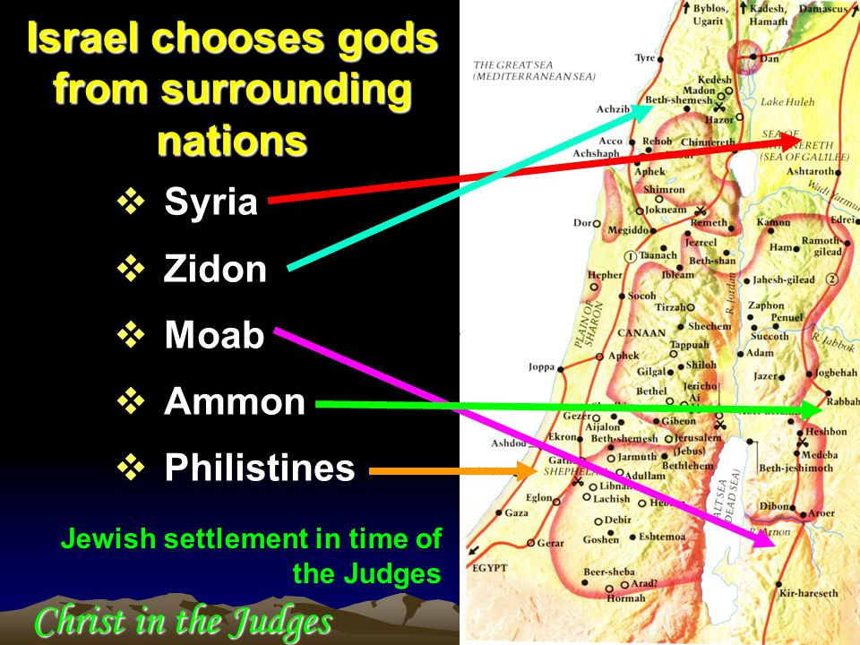  Syria  Zidon  Moab  Ammon  Philistines Israel chooses gods from surrounding nations Jewish settlement in time of the Judges Christ in the Judges