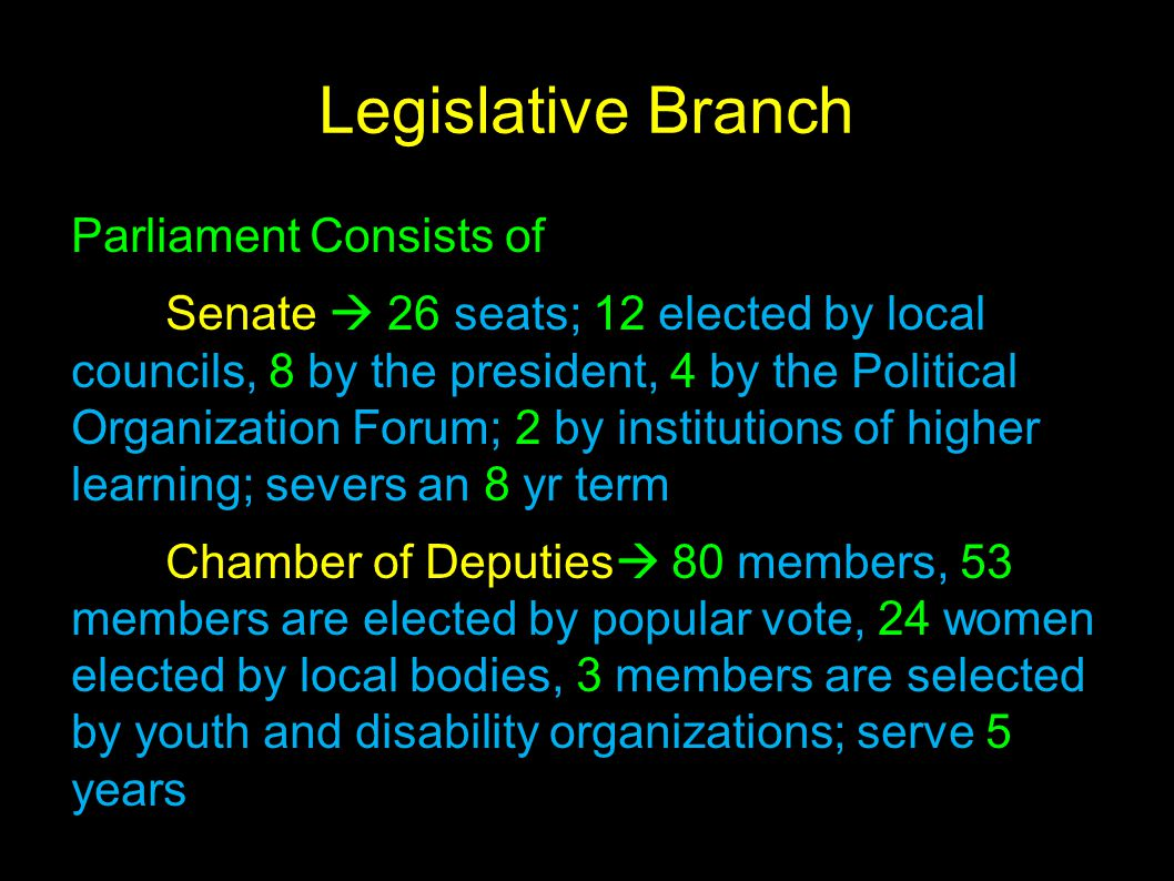 Legislative Branch Parliament Consists of Senate  26 seats; 12 elected by local councils, 8 by the president, 4 by the Political Organization Forum;