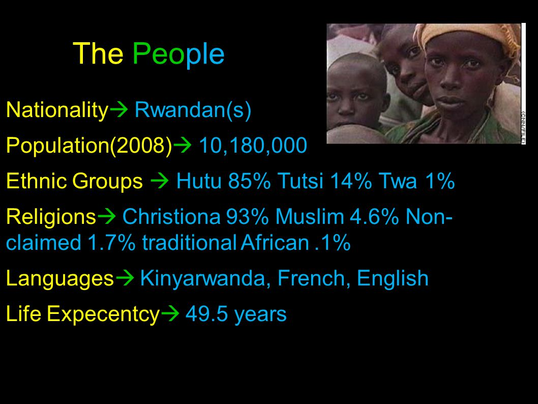 The People Nationality  Rwandan(s) Population(2008)  10,180,000 Ethnic Groups  Hutu 85% Tutsi 14% Twa 1% Religions  Christiona 93% Muslim 4.6% Non