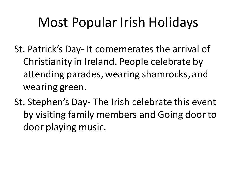 Most Popular Irish Holidays St.