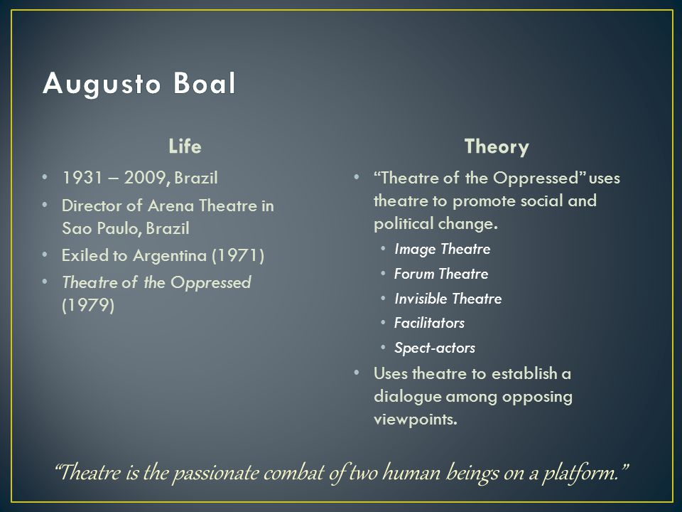 "Life 1931 – 2009, Brazil Director of Arena Theatre in Sao Paulo, Brazil Exiled to Argentina (1971) Theatre of the Oppressed (1979) Theory ""Theatre of"