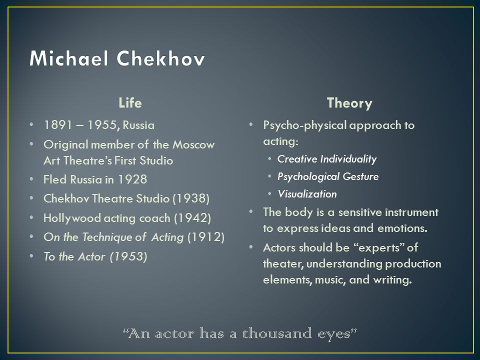Life 1891 – 1955, Russia Original member of the Moscow Art Theatre's First Studio Fled Russia in 1928 Chekhov Theatre Studio (1938) Hollywood acting c