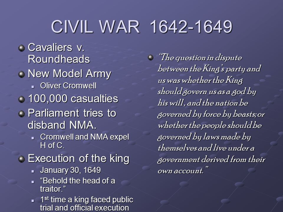 CIVIL WAR 1642-1649 Cavaliers v.