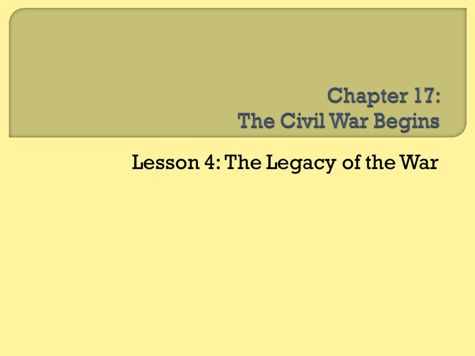  Lesson 1: The Emancipation Proclamation  Lesson 2: War Affects Society  Lesson 3: The North Wins  Lesson 4: The Legacy of the War