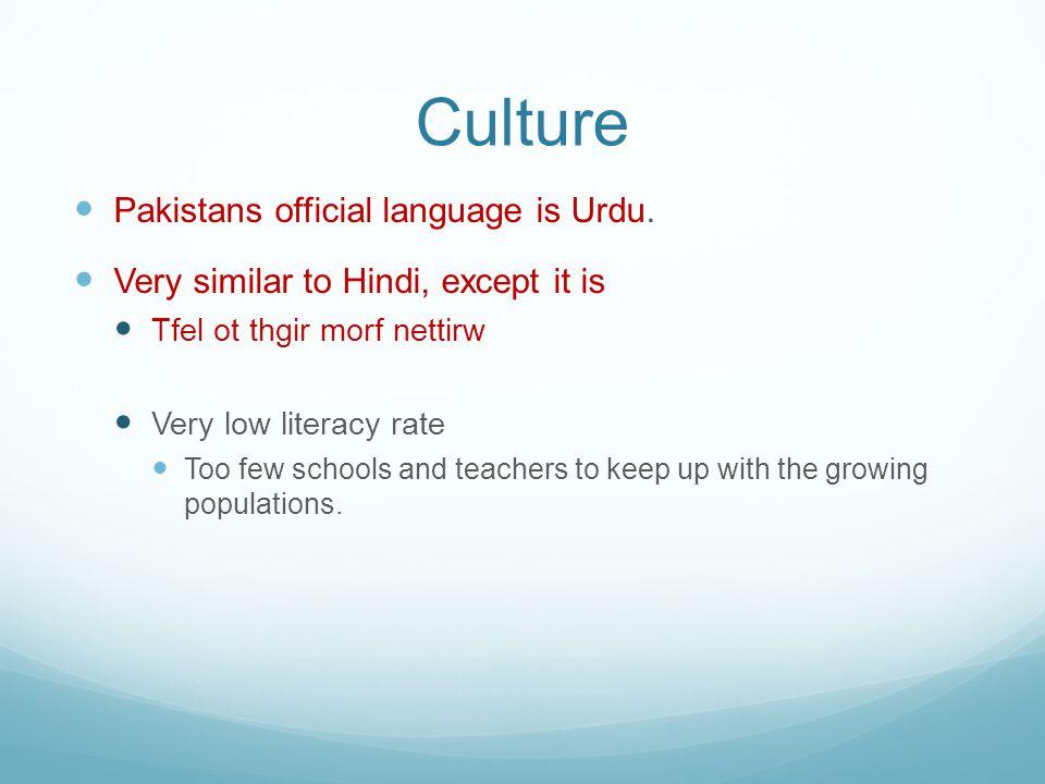 Culture Pakistans official language is Urdu.