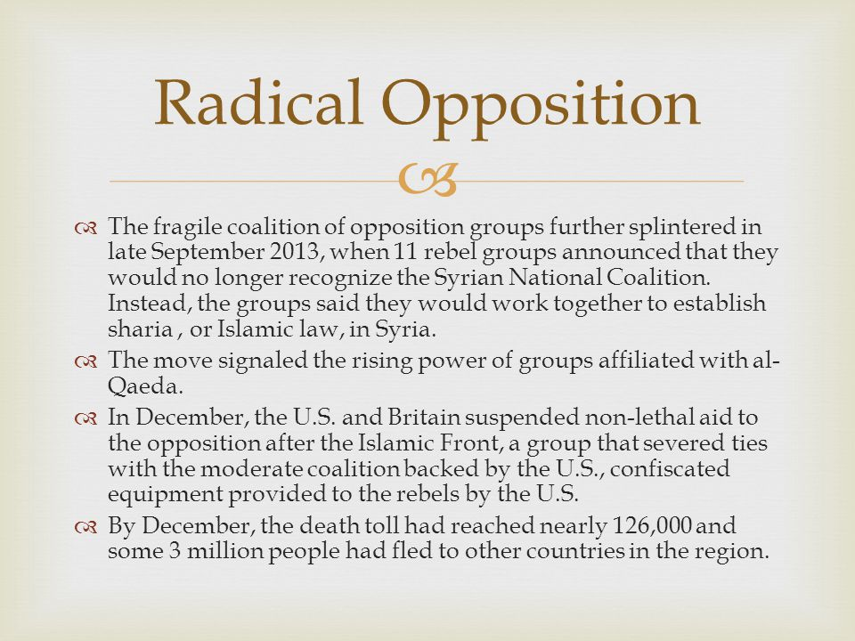   The fragile coalition of opposition groups further splintered in late September 2013, when 11 rebel groups announced that they would no longer recognize the Syrian National Coalition.