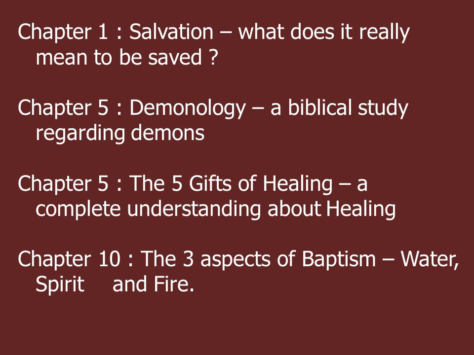 Chapter 1 : Salvation – what does it really mean to be saved .