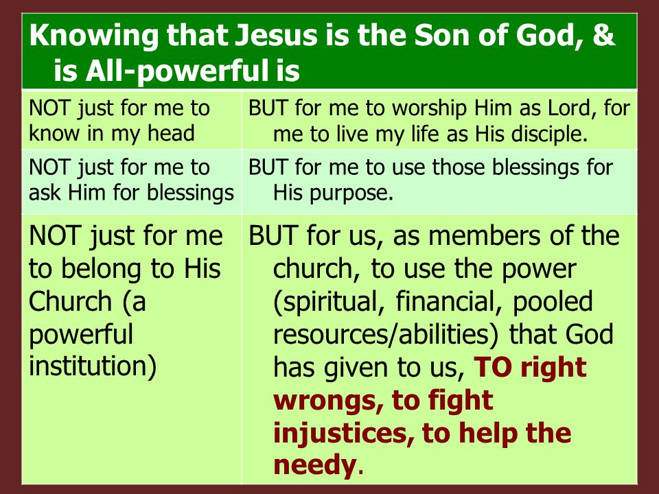 Knowing that Jesus is the Son of God, & is All-powerful is NOT just for me to know in my head BUT for me to worship Him as Lord, for me to live my life as His disciple.