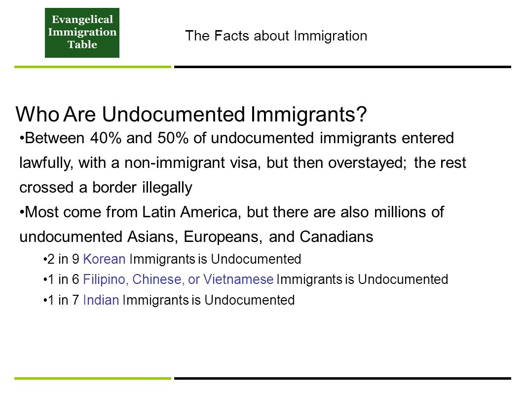 Who Are Undocumented Immigrants? Between 40% and 50% of undocumented immigrants entered lawfully, with a non-immigrant visa, but then overstayed; the
