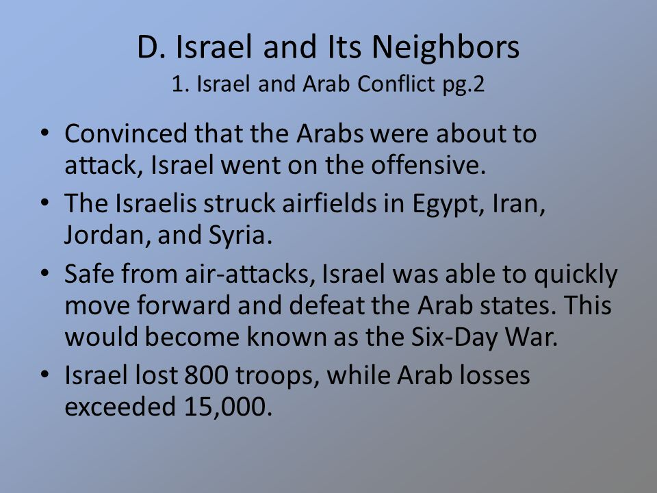 D. Israel and Its Neighbors 1.