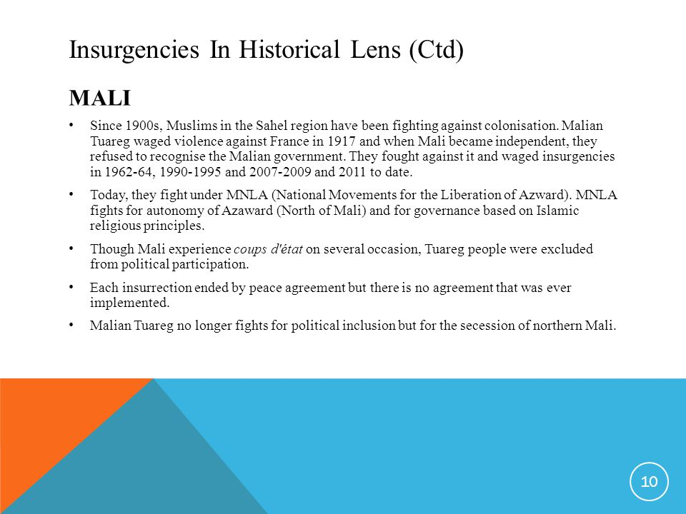 Insurgencies In Historical Lens (Ctd) MALI Since 1900s, Muslims in the Sahel region have been fighting against colonisation.