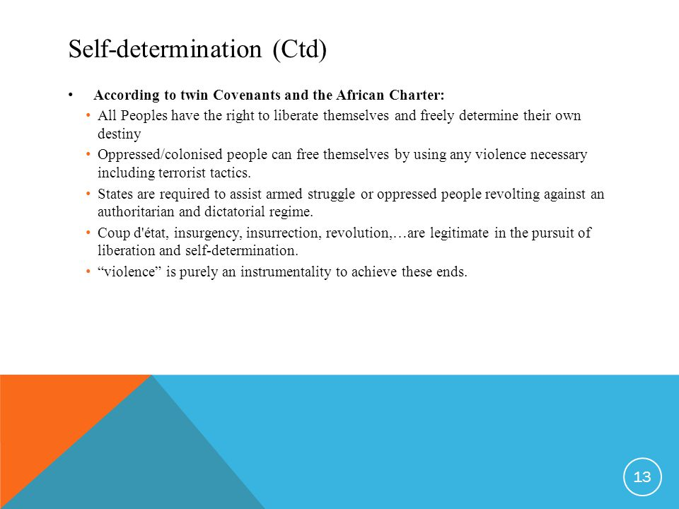 Self-determination (Ctd) According to twin Covenants and the African Charter: All Peoples have the right to liberate themselves and freely determine their own destiny Oppressed/colonised people can free themselves by using any violence necessary including terrorist tactics.