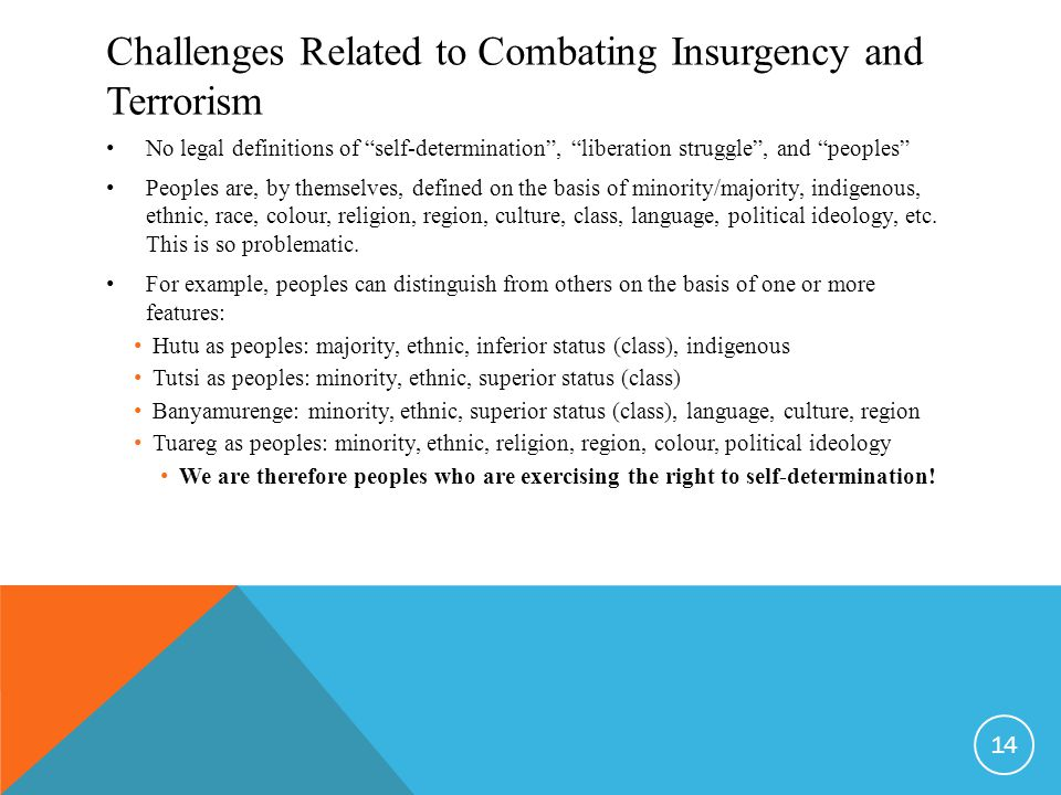 Challenges Related to Combating Insurgency and Terrorism No legal definitions of self-determination , liberation struggle , and peoples Peoples are, by themselves, defined on the basis of minority/majority, indigenous, ethnic, race, colour, religion, region, culture, class, language, political ideology, etc.