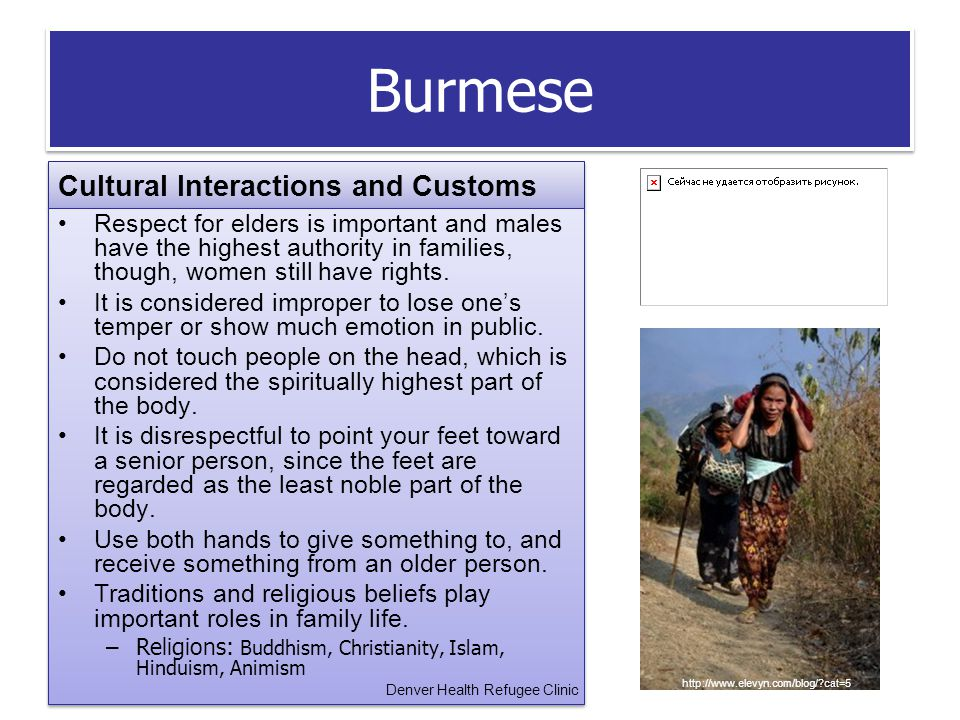 Burmese Cultural Interactions and Customs Respect for elders is important and males have the highest authority in families, though, women still have rights.