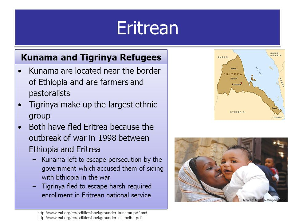 Eritrean Kunama and Tigrinya Refugees Kunama are located near the border of Ethiopia and are farmers and pastoralists Tigrinya make up the largest ethnic group Both have fled Eritrea because the outbreak of war in 1998 between Ethiopia and Eritrea –Kunama left to escape persecution by the government which accused them of siding with Ethiopia in the war –Tigrinya fled to escape harsh required enrollment in Eritrean national service Kunama are located near the border of Ethiopia and are farmers and pastoralists Tigrinya make up the largest ethnic group Both have fled Eritrea because the outbreak of war in 1998 between Ethiopia and Eritrea –Kunama left to escape persecution by the government which accused them of siding with Ethiopia in the war –Tigrinya fled to escape harsh required enrollment in Eritrean national service http://www.cal.org/co/pdffiles/backgrounder_kunama.pdf and http://www.cal.org/co/pdffiles/backgrounder_shimelba.pdf Denver Health Refugee Clinic