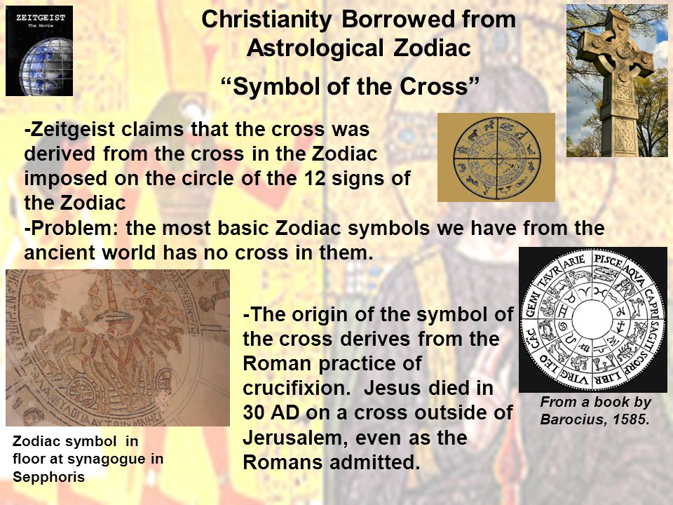 Christianity Borrowed from Astrological Zodiac Symbol of the Cross -Zeitgeist claims that the cross was derived from the cross in the Zodiac imposed on the circle of the 12 signs of the Zodiac -Problem: the most basic Zodiac symbols we have from the ancient world has no cross in them.