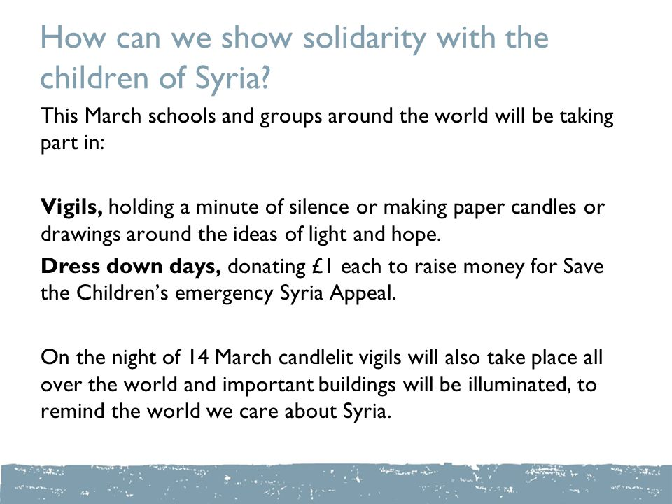 How can we show solidarity with the children of Syria.