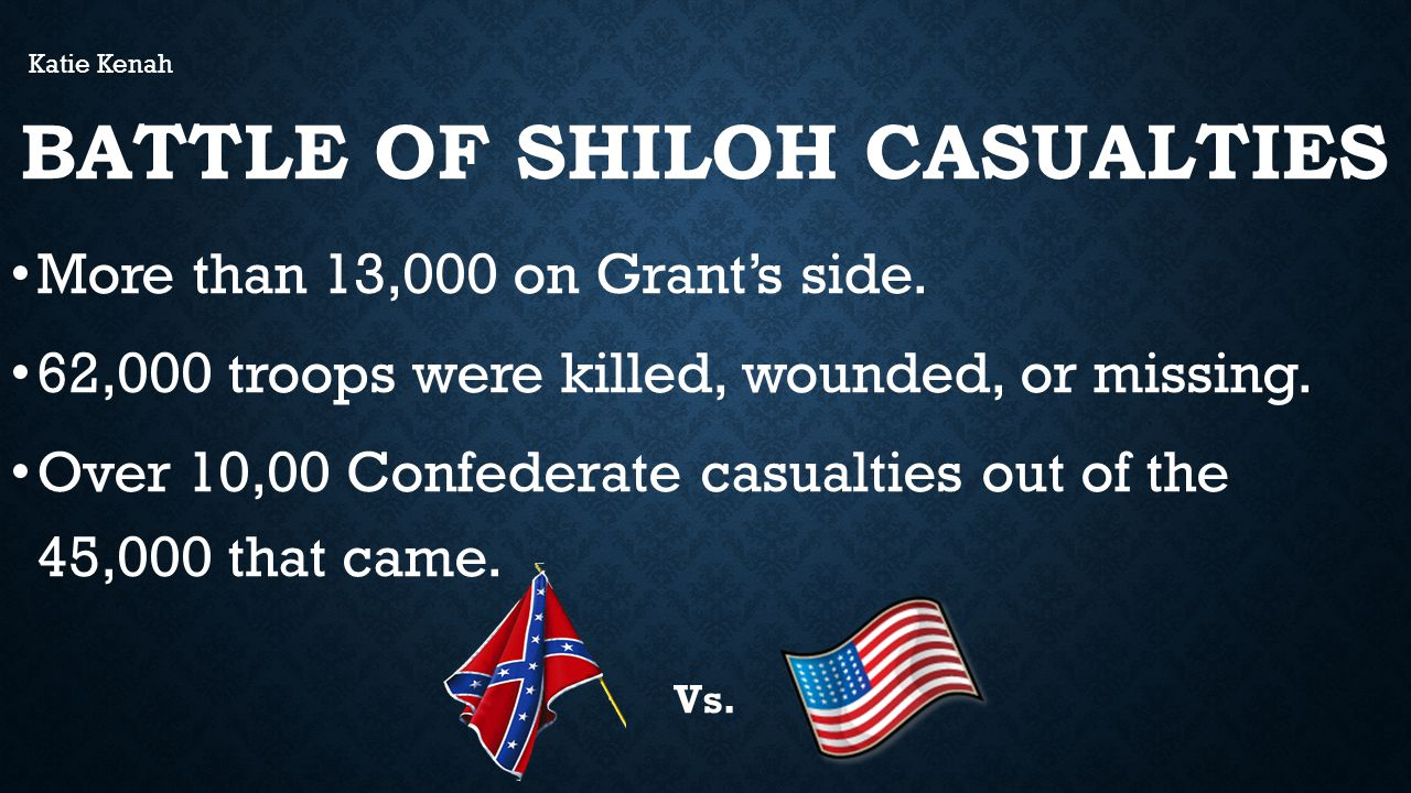 BATTLE OF SHILOH CASUALTIES More than 13,000 on Grant's side.