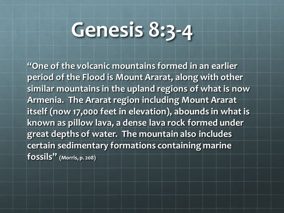 Genesis 8:3-4 One of the volcanic mountains formed in an earlier period of the Flood is Mount Ararat, along with other similar mountains in the upland regions of what is now Armenia.
