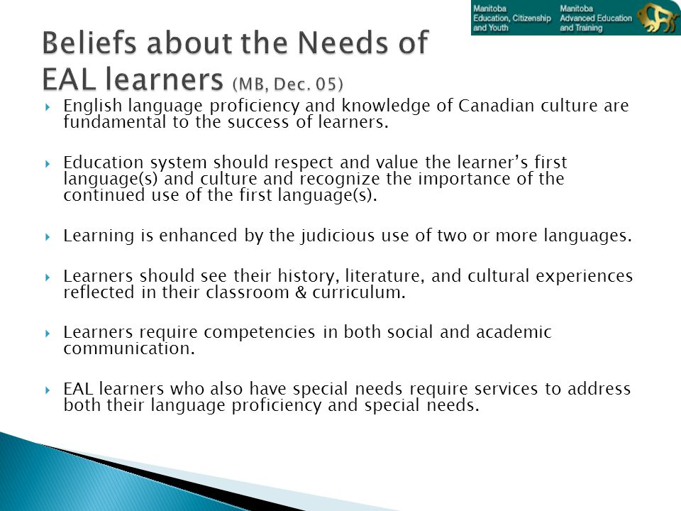  English language proficiency and knowledge of Canadian culture are fundamental to the success of learners.