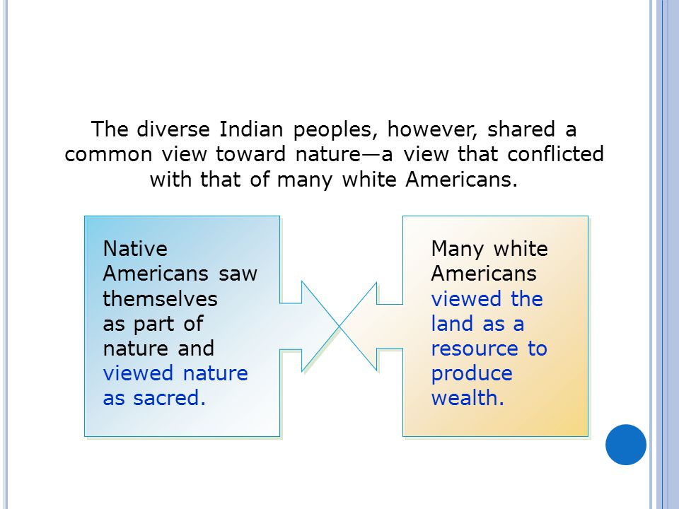 The diverse Indian peoples, however, shared a common view toward nature—a view that conflicted with that of many white Americans. Native Americans saw