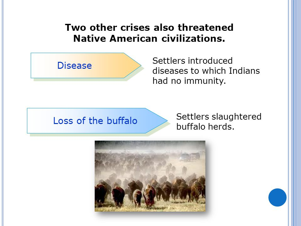 Two other crises also threatened Native American civilizations. Disease Loss of the buffalo Settlers introduced diseases to which Indians had no immun