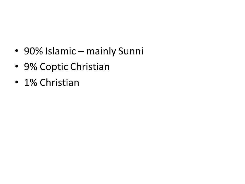 90% Islamic – mainly Sunni 9% Coptic Christian 1% Christian