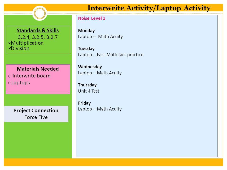 Noise Level 1 Monday Laptop – Math Acuity Tuesday Laptop – Fast Math fact practice Wednesday Laptop – Math Acuity Thursday Unit 4 Test Friday Laptop –
