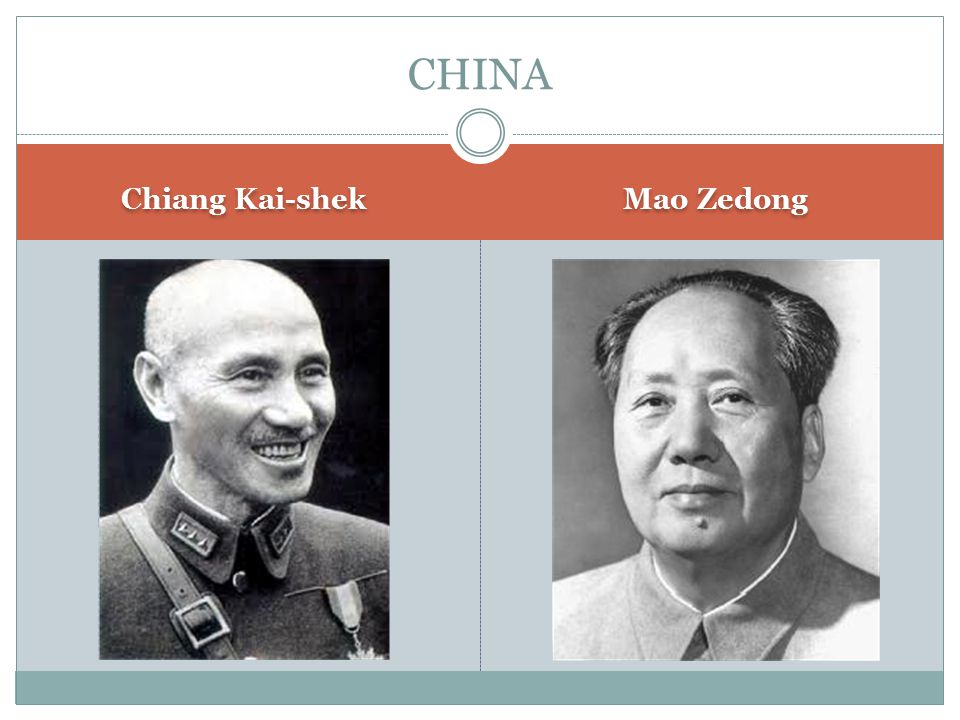 Chiang Kai-shek Mao Zedong CHINA
