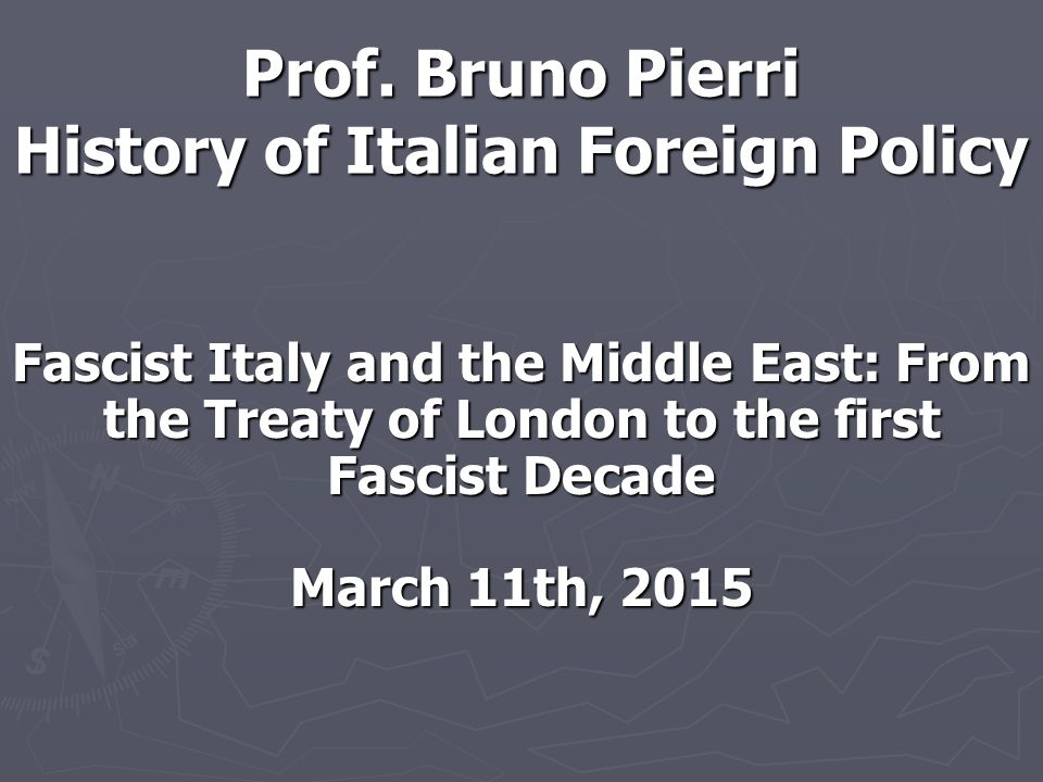 Young Mussolini ► Cultural heritage: Impressed by orientalism ► Sense of superiority and generalization about Arabs: avoid sexual relations among races ► Support of Middle Eastern countries' independence from France and Britain: expansion not only in terms of territorial conquests ► Middle East as a great opportunity for Italy.